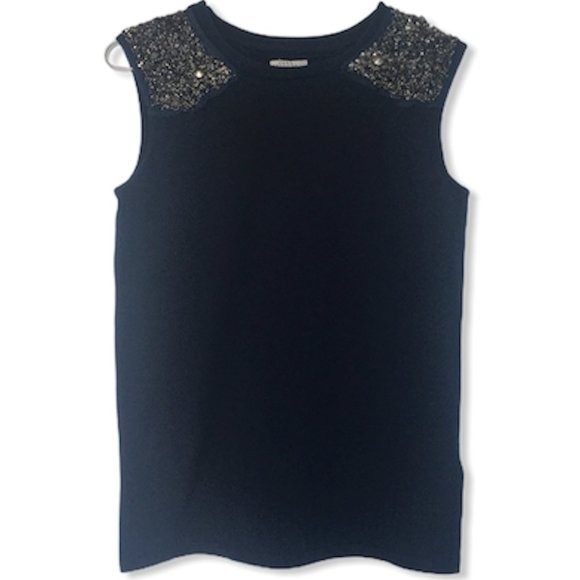 Zara Navy Sleeveless Embellished Shoulder Top S